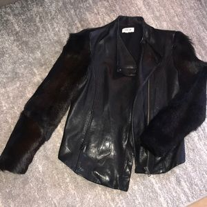 Helmut Lang leather and fur coat